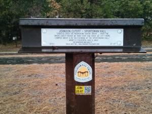 Historic Trail marker, east corner of Sportsman's parking lot.